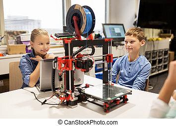 feliz, crianças, com, 3d, impressora, em, robótica, escola