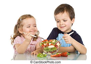 feliz, crianças comendo, salada fruta