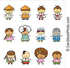 feliz, crianças, de, diferente, nacional, ternos