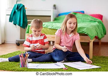 feliz, crianças, desenho, casa