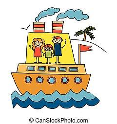 feliz, crianças, desenho, férias familiar