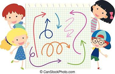feliz, crianças, e, diferente, cores, de, setas