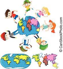 feliz, crianças, e, diferente, estilos, de, worldmap