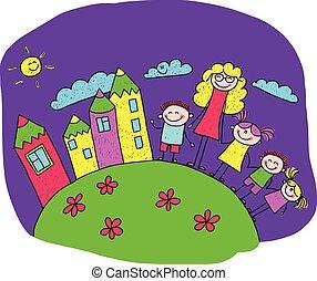 feliz, crianças, ilustração, professor