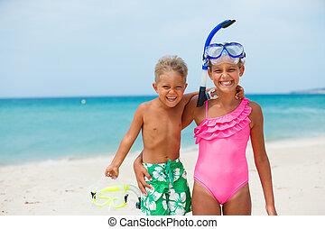feliz, crianças, ligado, praia