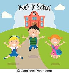 feliz, crianças, para, a, retorno, para, escola