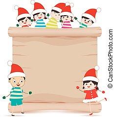 feliz, crianças, pergaminho, sinal