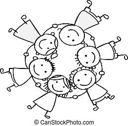 feliz, crianças, segurando mão