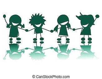 feliz, crianças, silhuetas, branco, fundo