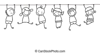 feliz, crianças, tocando