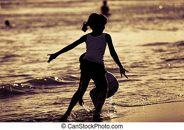feliz, crianças, tocando, ligado, praia