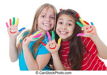feliz, crianças, tocando, pintura