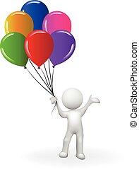 feliz cumpleaños, 3d, blanco, hombre de la gente, con, un, ramo, globos