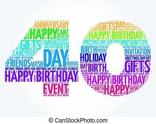 feliz cumpleaños, 40th, palabra, nube