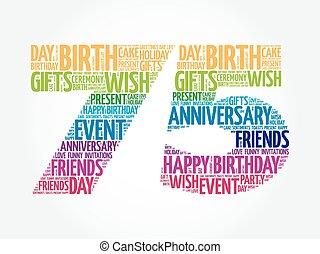 feliz cumpleaños, 75th, palabra, nube