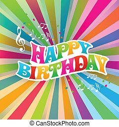 feliz cumpleaños, arte, tarjeta, color, sunburst