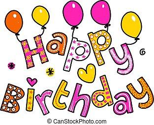 feliz cumpleaños, caricatura, texto, clipart