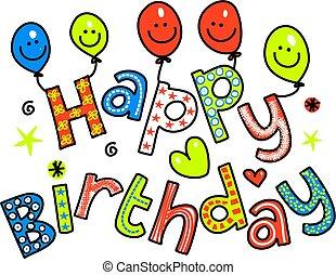 feliz cumpleaños, celebración, texto
