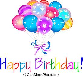 feliz cumpleaños, con, globos