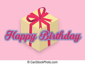 feliz cumpleaños, con, regalo