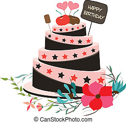 feliz cumpleaños, cupcake, y, florals