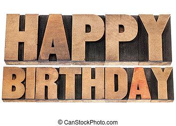 feliz cumpleaños, en, madera, tipo
