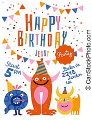 feliz cumpleaños, fiesta, cartel