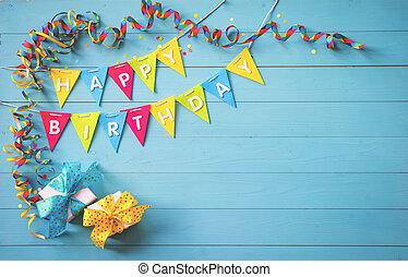 feliz cumpleaños, fiesta, plano de fondo, con, texto, y, colorido, herramientas