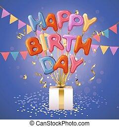 feliz cumpleaños, globo, cartas, plano de fondo