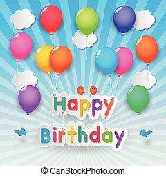 feliz cumpleaños, globos