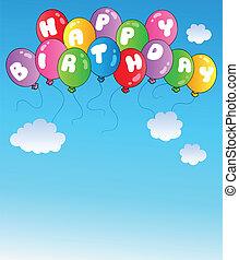 feliz cumpleaños, globos, en, cielo azul