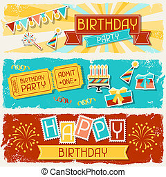 feliz cumpleaños, horizontal, banners.