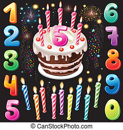 feliz cumpleaños, números, fuego artificial, pastel