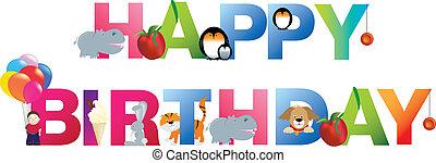 feliz cumpleaños, niño joven, estilo