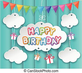 feliz cumpleaños, nubes, y, cielo, plano de fondo