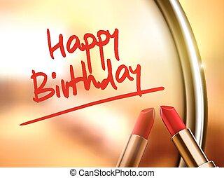 feliz cumpleaños, palabras, lápiz labial, rojo, escrito