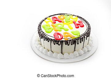 feliz cumpleaños, pastel, aislado, blanco