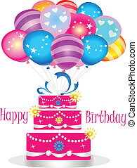 feliz cumpleaños, pastel, con, globos