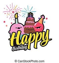 feliz cumpleaños, pastel, fuego artificial, plano de fondo, vector, imagen