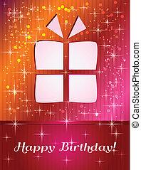 feliz cumpleaños, rojos, regalo