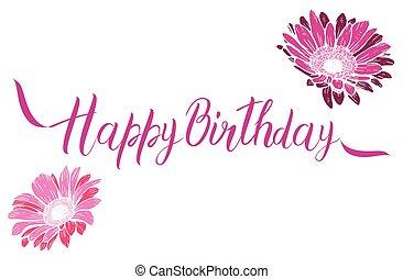 feliz cumpleaños, rosa, texto, con, flores, aislado, blanco, fondo., festivo, tipografía, vector, diseños, para, saludo, tarjetas., listo, template.