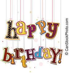 feliz cumpleaños, saludo, en, cuerdas