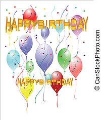 feliz cumpleaños, saludo, en, globos