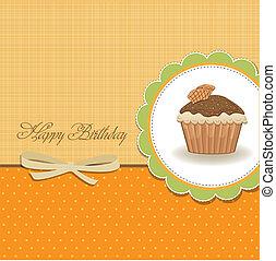 feliz cumpleaños, tarjeta, con, cupcake