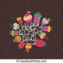 feliz cumpleaños, tarjeta, con, cupcakes
