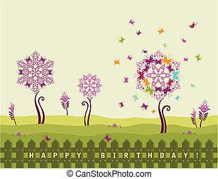 feliz cumpleaños, tarjeta, con, flores