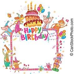 feliz cumpleaños, tarjeta, con, lugar, para, texto