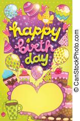 feliz cumpleaños, tarjeta, con, pastel, globo, y, cupcake