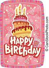 feliz cumpleaños, tarjeta, con, torta de cumpleaños