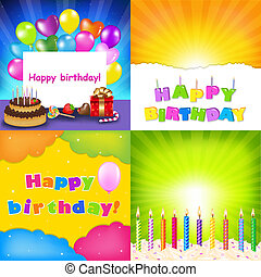 feliz cumpleaños, tarjeta, conjunto